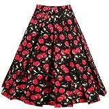 vintage peanuts - Dressever Women's Vintage A-Line Printed Pleated Flared Midi Skirts Cherry (Style 2) Large