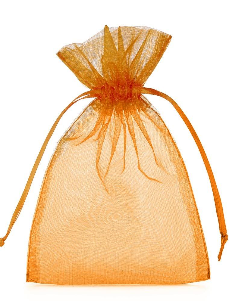 10 Stück Organzabeutel, Organzasäckchen, Größe 40x30 cm (Höhe x Breite), Farbe orange, mit Satinband zum Zuziehen- die ideale Geschenkverpackung 10 Stück Organzabeutel Organzasäckchen organzabeutel24