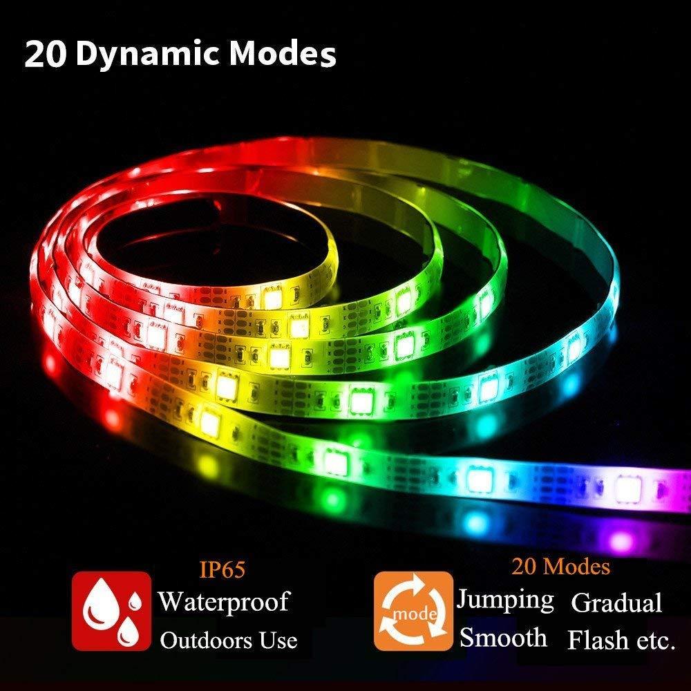 Energieklasse A++ Tamnamily/_DE SOLMORE LED Streifen Stripe Licht Batterie 2M 5050 RGB bunt Lichtleiste Band Beleuchtung Farbwechsel LED Lichtband dimmbar wasserdicht IP65 für Party Geburtstag Bar Küche LED Strip 2m