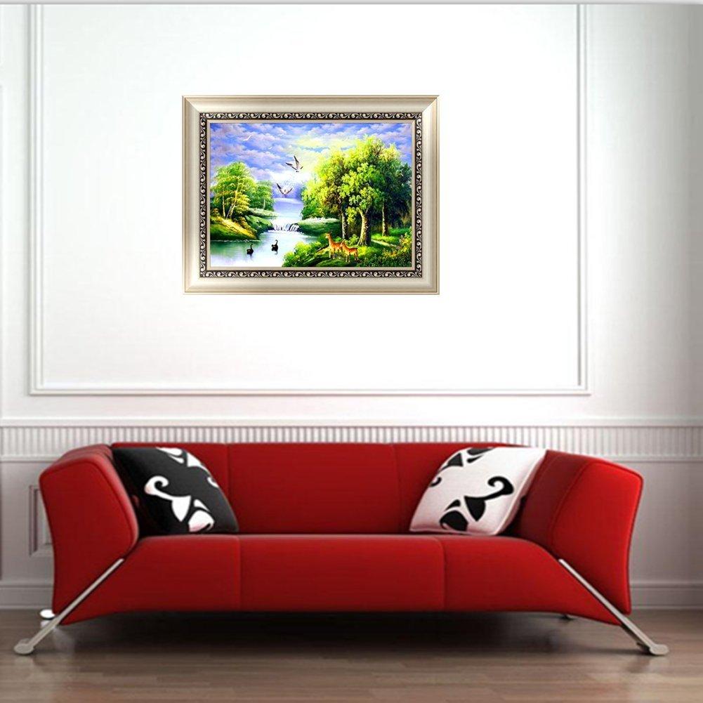 Peinture par num/éros pour Adultes d/ébutants Ensemble Complet de perceuse en r/ésine Point de Croix D/écoration de la Maison pour Salon ou Chambre Paysage 30 x 40 cm