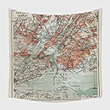 Home Decor Tapestry Wall Hanging New York Old Map From The End Of Th Century_ for Bedroom Living Room Dorm