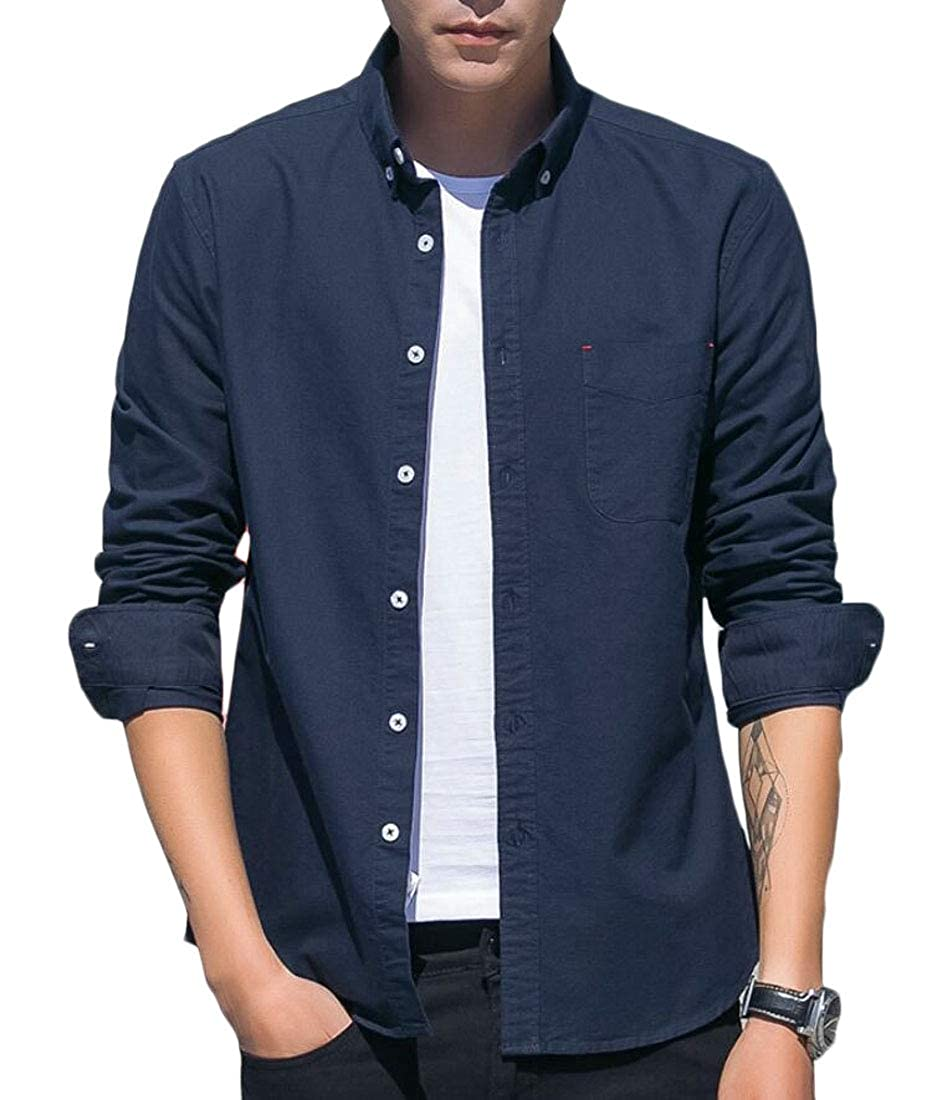 Generic Mens Casual Solid Color Oxford Long Sleeve Slim Button Front Shirts