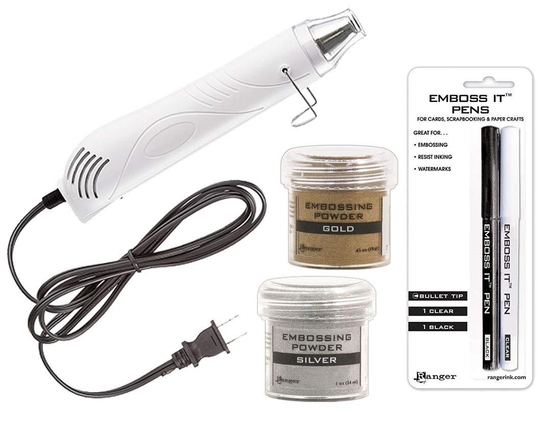 Emboss It Pens Embossing Starter Kit Heat Tool Machine Ranger Gold and Silver Powder