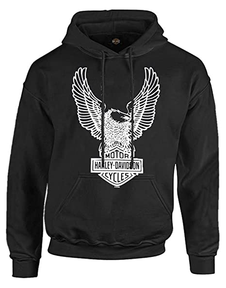 HARLEY DAVIDSON Men's Pullover Hoodie Sweatshirt, Eagle Hooded, Black 30296662