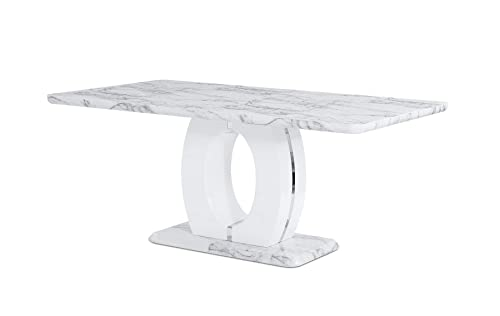 Global Furniture USA Global Furniture Faux Marble Pedestal Base Dining Table, BR