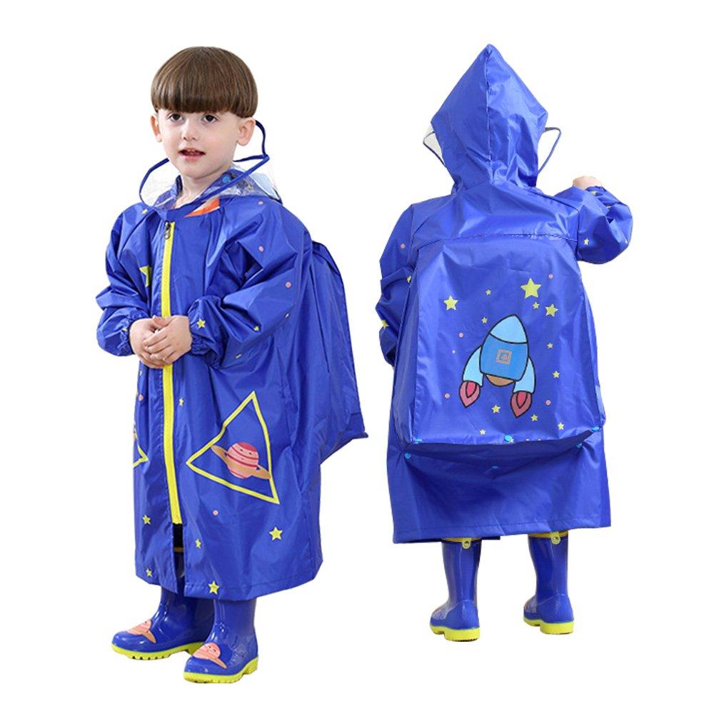 LOHOME Unisex Kids Raincoat - Children's Hooded Raincoat Teens Jacket Space Poncho with School Bag Cover Rainwear (L (Fit 3.94~4.75ft Height), Blue Rocket)