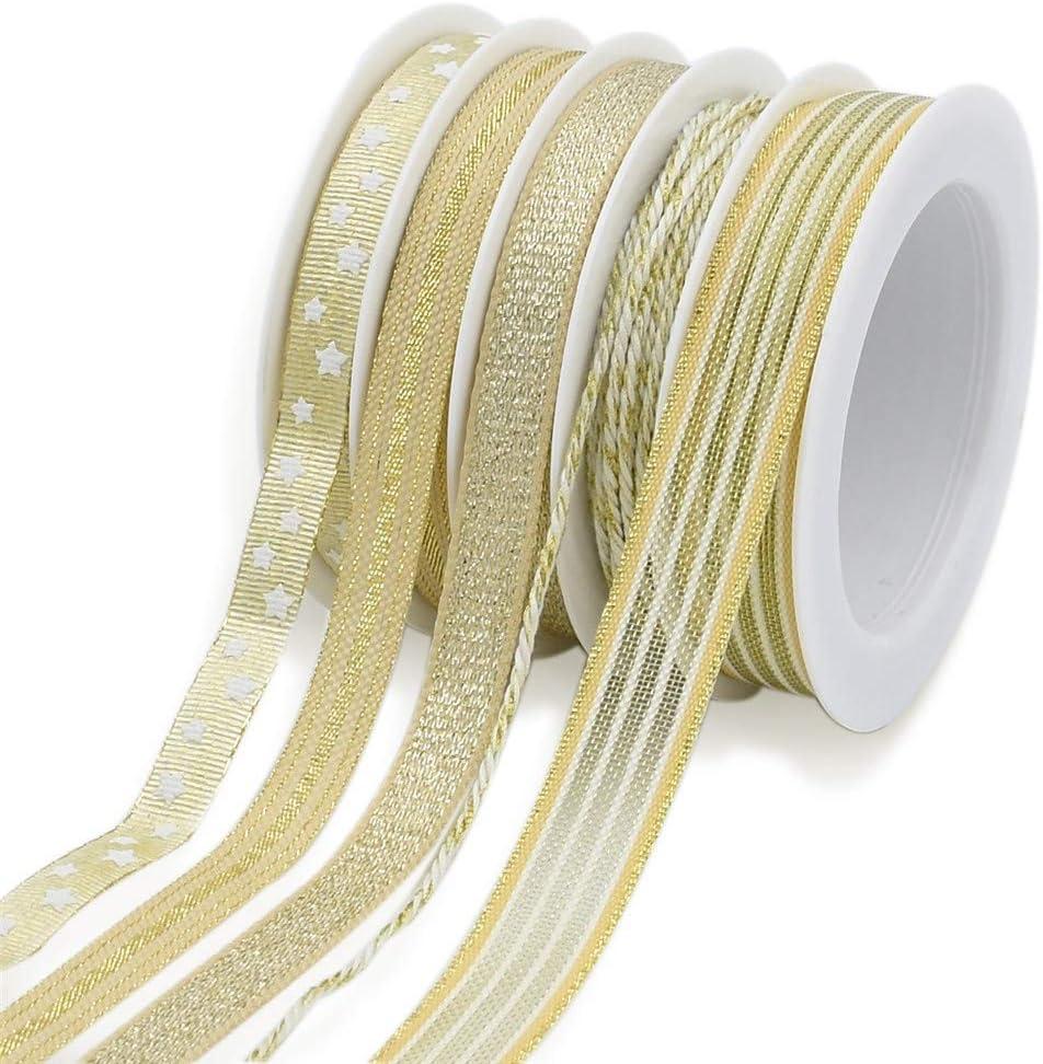 """Brillantes Oro Metálico Navidad Cinta De Tela De 40 Mm 1,5 /""""de ancho 25m Roll por cable borde"""