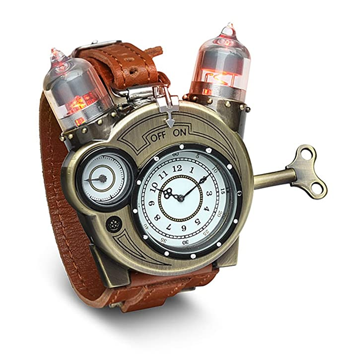 Steampunk Accessories | Goggles, Gears, Glasses, Guns, Mask ThinkGeek Steampunk-Styled Tesla Analog Watch Weathered-Brass Look on Metal Findings Plus Leather Strap $59.88 AT vintagedancer.com