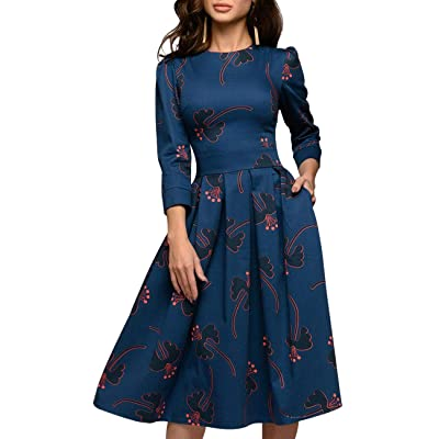 Simple Flavor Women's Floral Evening Flare Vintage Midi Dress 3/4 Sleeve: Clothing
