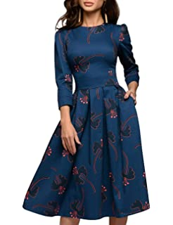 c3a6573f0 Simple Flavor Women's Floral Evening Flare Vintage Midi Dress 3/4 Sleeve