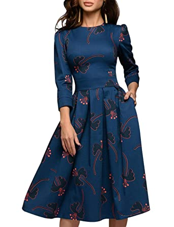 4177169668 Simple Flavor Women's Floral Evening Flare Vintage Midi Dress 3/4 Sleeve  (0658BL,