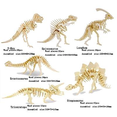 Adornlife Juego de 6 piezas 3D animales de madera Puzzle Dinosaurio T-rex, Spinosaurus, Longhom, Brontosaurus, Tricerotops, Stegosaurus 3D DIY Asamblea modelo de juguete para niños y adultos: Juguetes y juegos