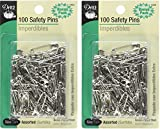 Dritz 100-Piece Safety Pins, Assorted Sizes, Nickel Finish (2 Pack)