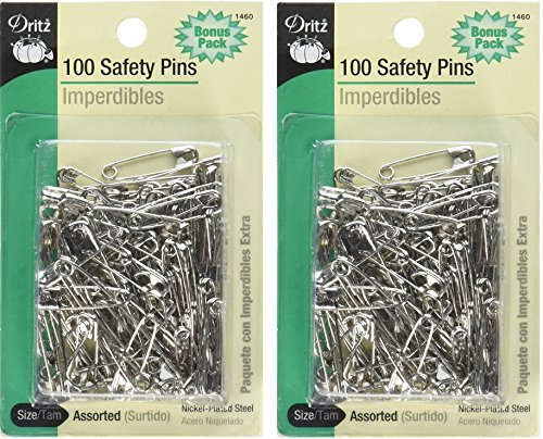 Dritz 100-Piece Safety Pins, Assorted Sizes, Nickel Finish (2 Pack) by Dritz