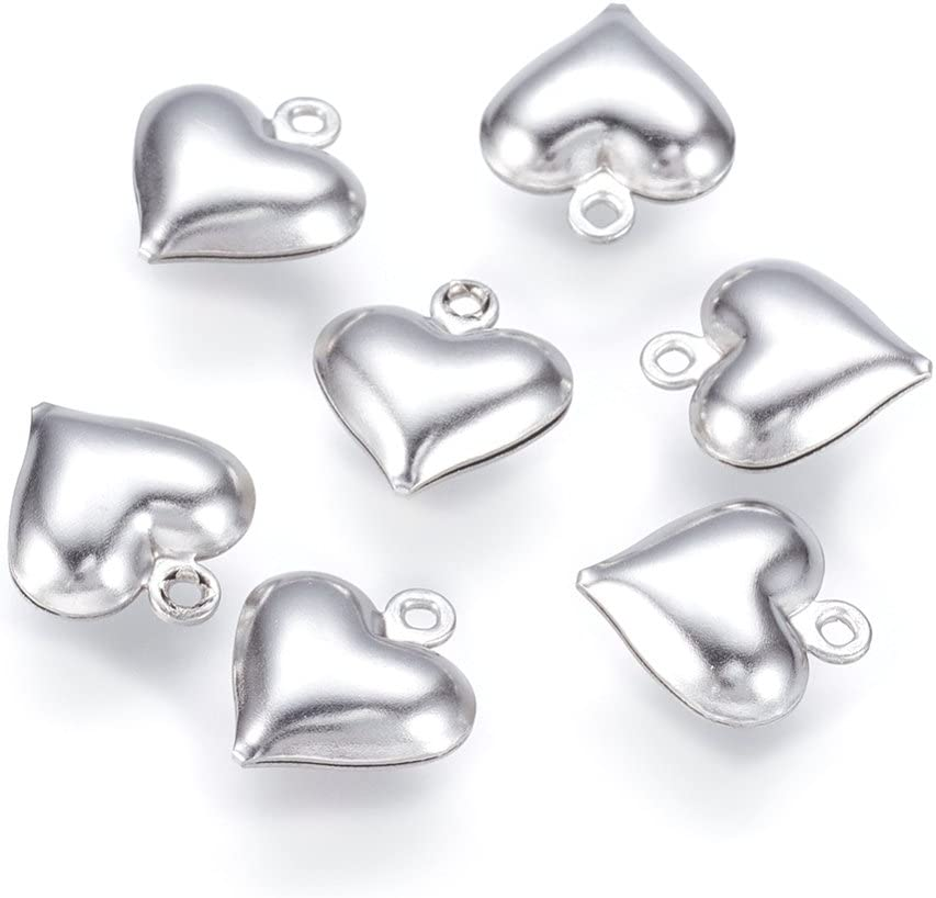 Heart Charm//Pendant 304 Stainless Steel Silver 12mm  5 Charms Accessory Crafts