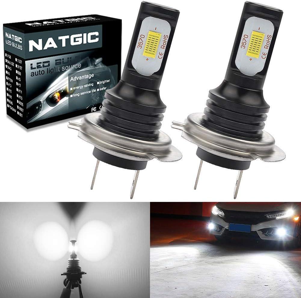 Golden NATGIC H8 H9 H11 LED Bulbs Super Bright 2400LM 3000K Waterproof IP68 LED Light for Fog Lights Pack of 2 Daytime Running Lights 12V Automotive Driving Lamps 75W