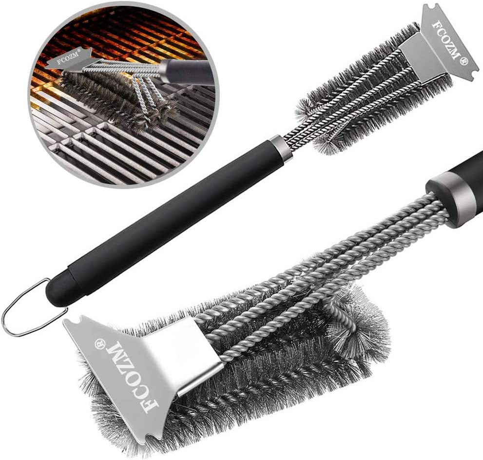 Wire Bristles Scrubber Cleaning Brush 18 inch Stainless Steel Barbecue Grill Cleaning Brush BBQ Grill Brush and Scraper Universal Fit Weber//Gas//Charcoal//Porcelain//Cast Iron