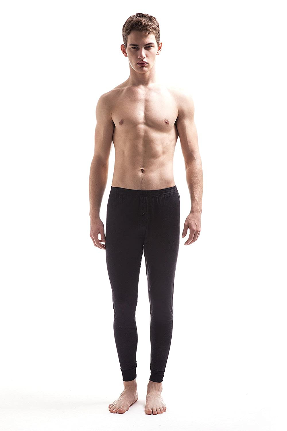 JASMINE SILK Mens Pure Silk Thermal Long Johns Black