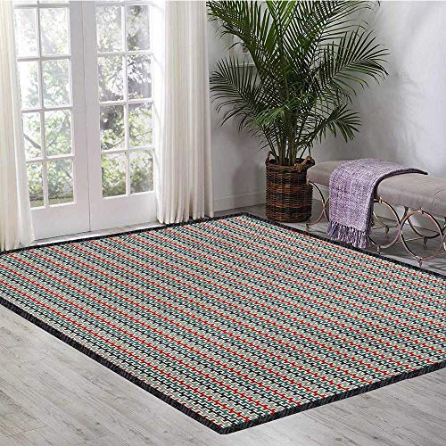 Retro, Area Rug Kids, Geometric Composition with Angled Lines Vintage Inspirations Horizontal Illustration, Children Kids Nursery Rugs Floor Carpet 6.6x9 Ft Multicolor