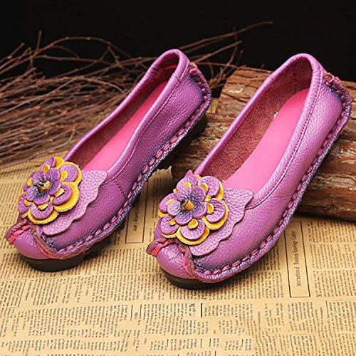 Odema Womens Handgemaakte Originele Kunst Lederen Uitschuifbare Loafers Flats Mocassins Rijdende Schoenen Casual Wandelschoenen Perzik Rood