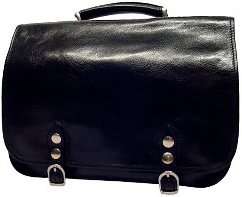 CUSTOM PERSONALIZED INITIALS ENGRAVING Alberto Bellucci Mens Italian Leather Comano Double Compartment Messenger Satchel Bag in Black