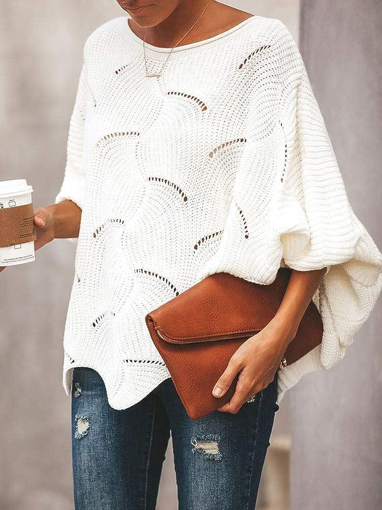 Femmes Pull Pullover Col Montant Chaud Long Chauve-souris Manches Lâche Tricot Casual