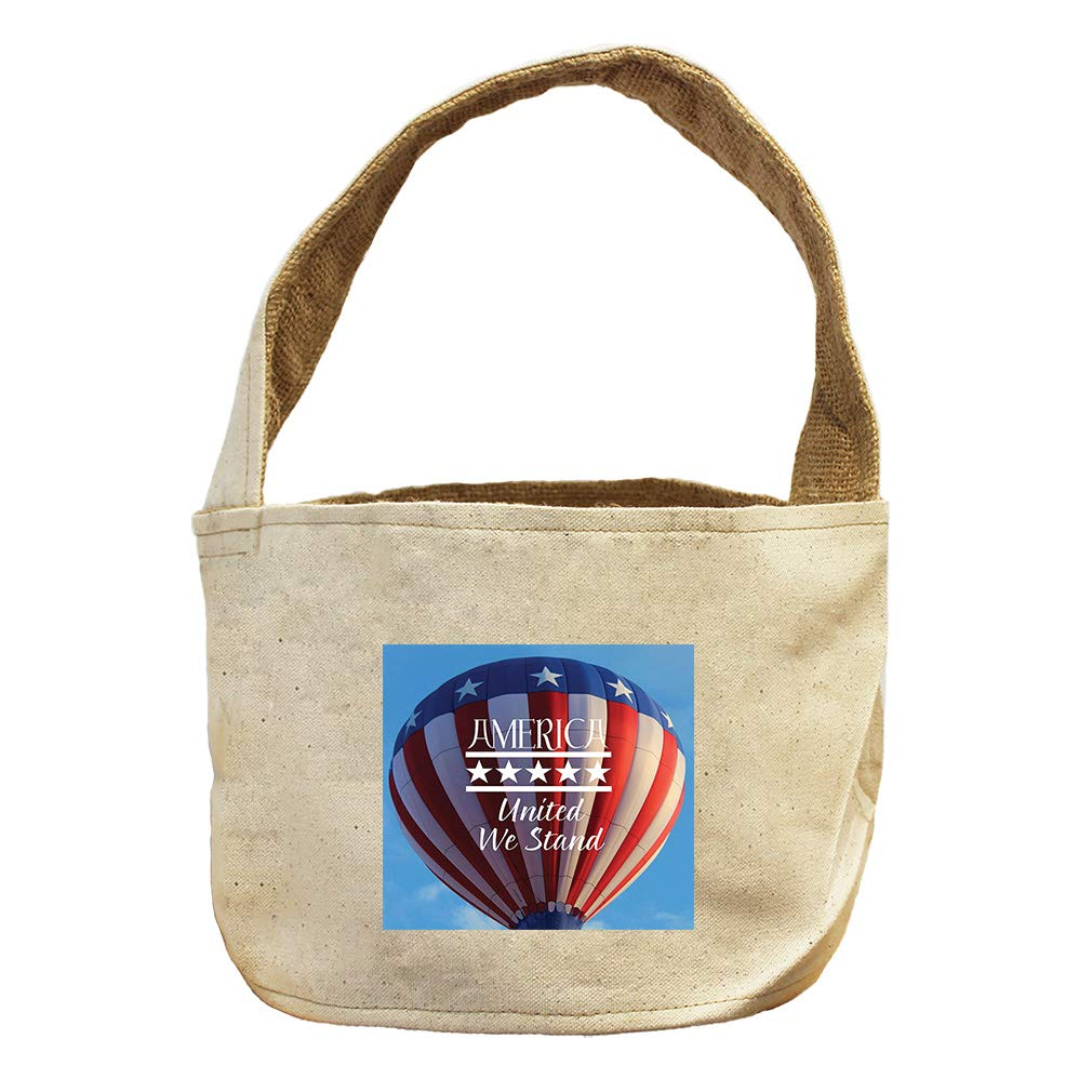 America United We Stand in Hot Air Balloon Canvas and Burlap Storage Basket