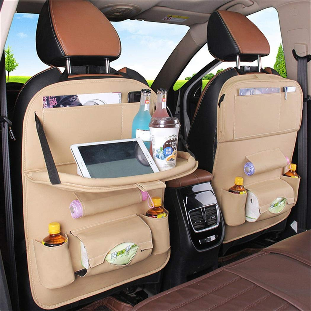 Car Seat Back Multi-Pocket Organizer Drink Holder Leather Storage Bag Logistt Car Seat Back Organizer