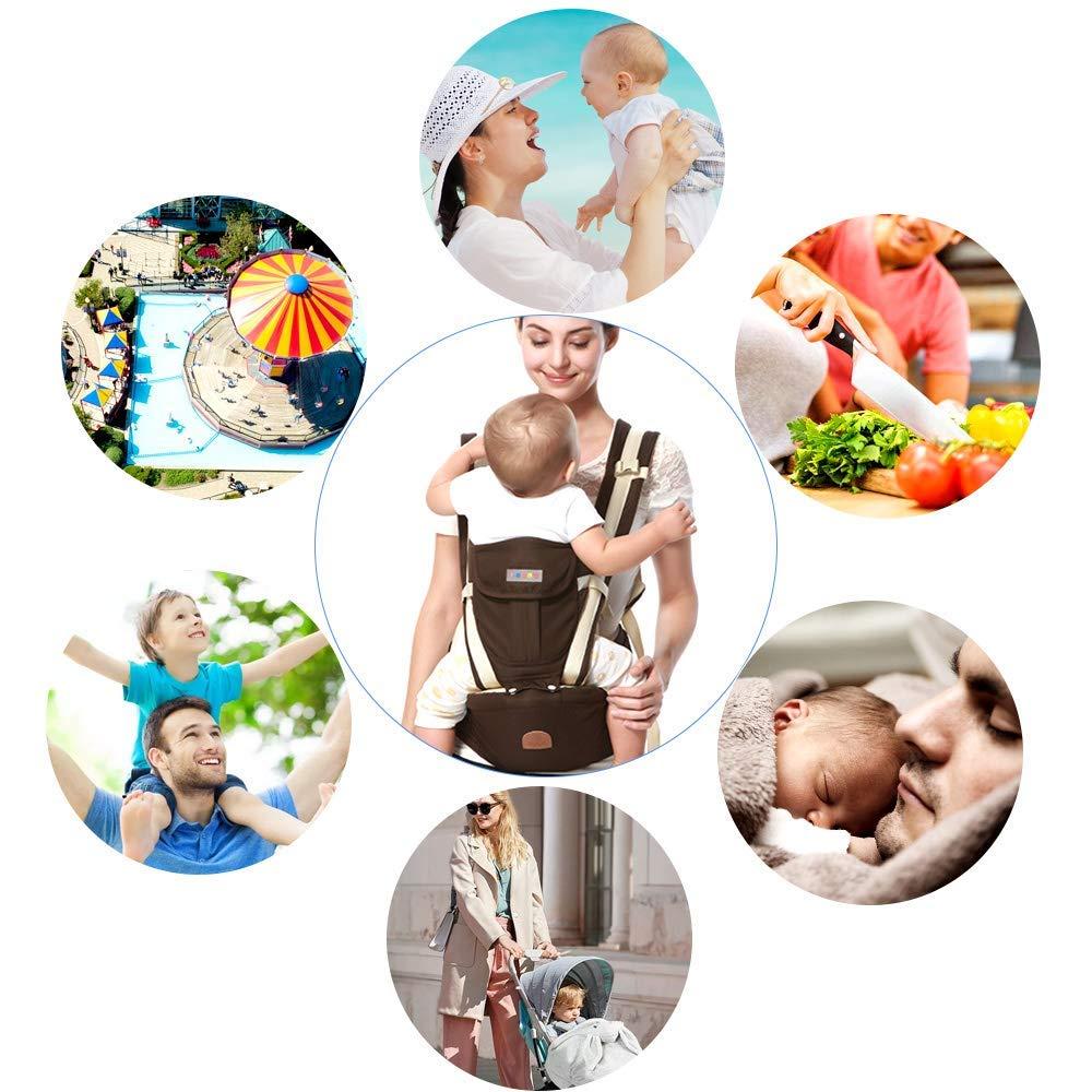 Babytrage f/ür Neugeborene Babytrage Ergonomische mit H/üftsitz//Reine Baumwolle Leicht und atmungsaktiv//Multiposition:Dorsal Einstellbar f/ür Neugeborene und Kleinkinder Blau Ventral