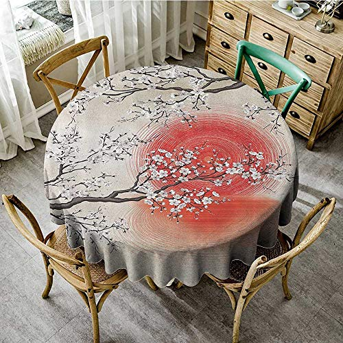 familytaste Outdoor Camping TableclothsJapanese Garden Park Decor,Sakura Cherry Trees Branches Leaves White Flowers in Spring Blossom Under The Red Sun D 36