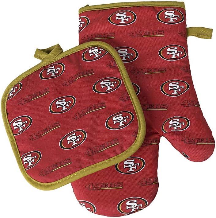 Pro Specialties Group NFL San Francisco 49ers Oven MITT/Pot Holder Set Logo Rush Red, Small