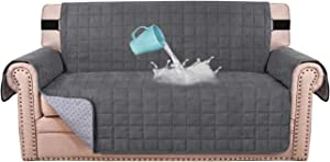 """100% Waterproof Sofa Furniture Cover Suede Couch Covers for Dogs Velvet Sofa Protector Leather Loveseat Cover Seat Width 54"""" Sofa Slipcovers with 2"""" Strap and Non-Slip Backing (Loveseat, Grey)"""