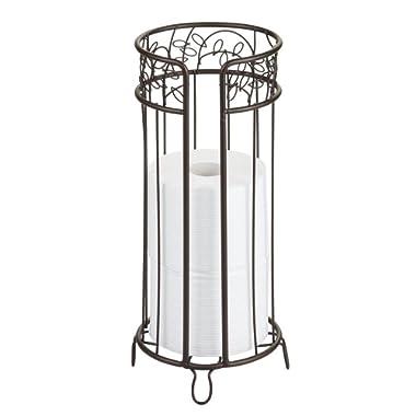 InterDesign Twigz Free Standing Toilet Paper Holder – Spare Roll Storage for Bathroom, Bronze