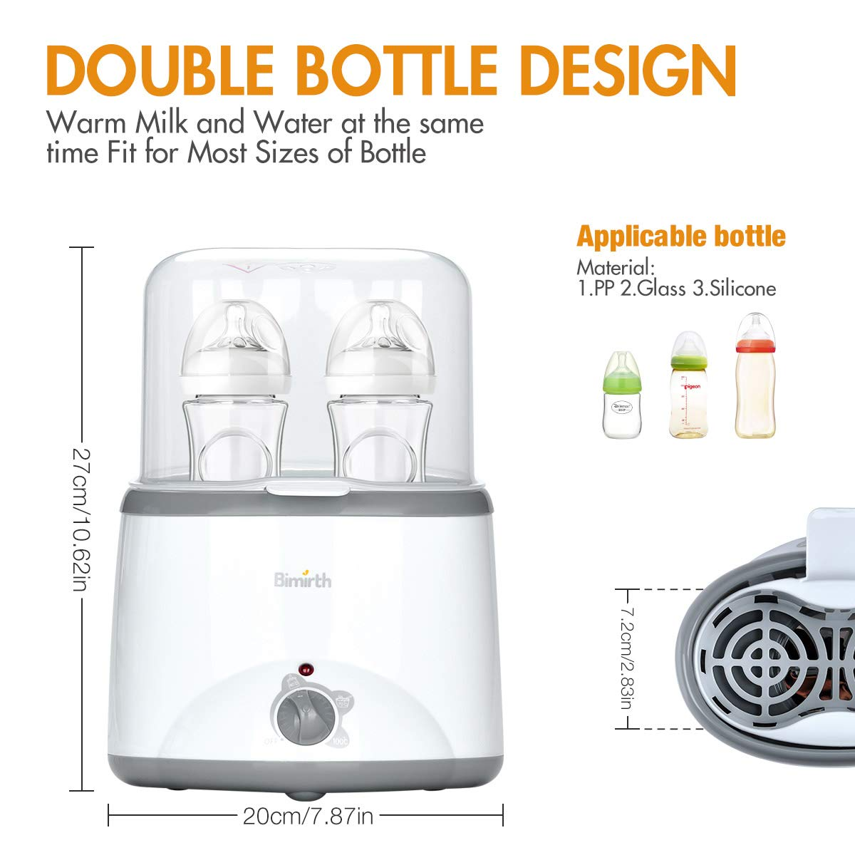 Chauffe Biberon Portable Double Bottles Design Smart Thermostat avec LAffichage En Temps R/éEl De LCD Lychee 4 en 1 Multifonction St/érilisateur de Bouteille//Chauffe-Aliments
