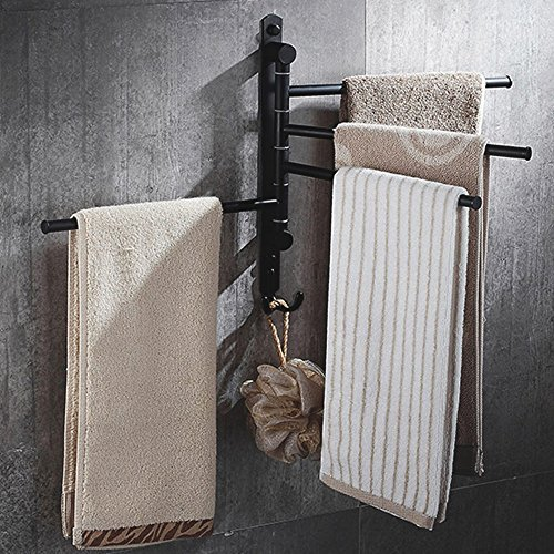 Wall Mounted Swing Towel Bar, Swing Arm Towel Rack Oil Rubbed Bronze Towel Rail Holder For Bathroom With 4 Arms, 2 Hooks By STARVAST