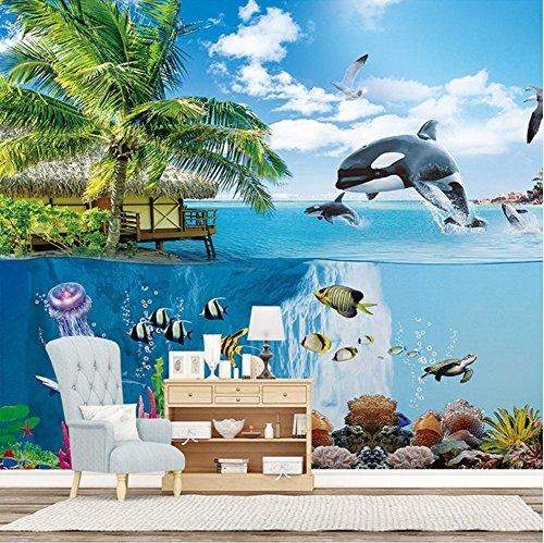 Mznm Custom 3D Wallpaper Hd Underwater World Seascape Wall Painting Living Room Sofa Bedroom Photo 3D Mural Home Decoration Fresco-200X140Cm ()