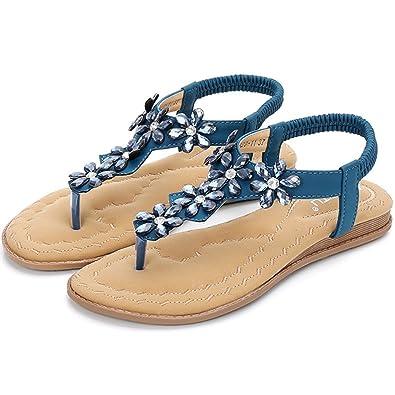 Femme Sandales Plates de Style Bohème Chaussure Ouverte Ete Sandales de  Marche Amazon.fr Chaussures et Sacs