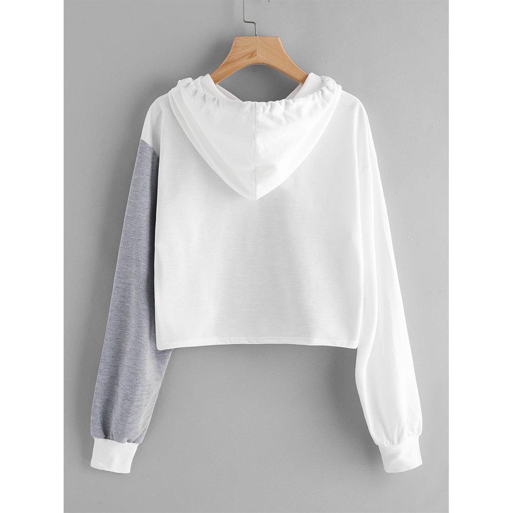 Women Color Block Hoodie Long Sleeve Hooded Crop Tops Sweatshirt Jacket Sweater Loose Pullover Shirts Teen Girls Junior