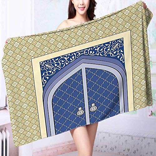 PRUNUS 100% Cotton Bath Towel Medieval Door with Ottoman Architecture Persian Influences Islamic Culture Design Blue Beige No Fading Multipurpose by PRUNUS