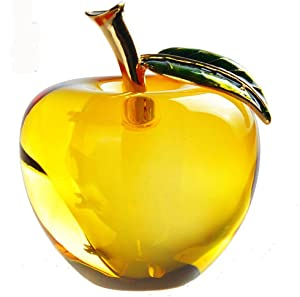 Waltz&F Crystal Apple Paperweight Craft Decoration (Yellow)