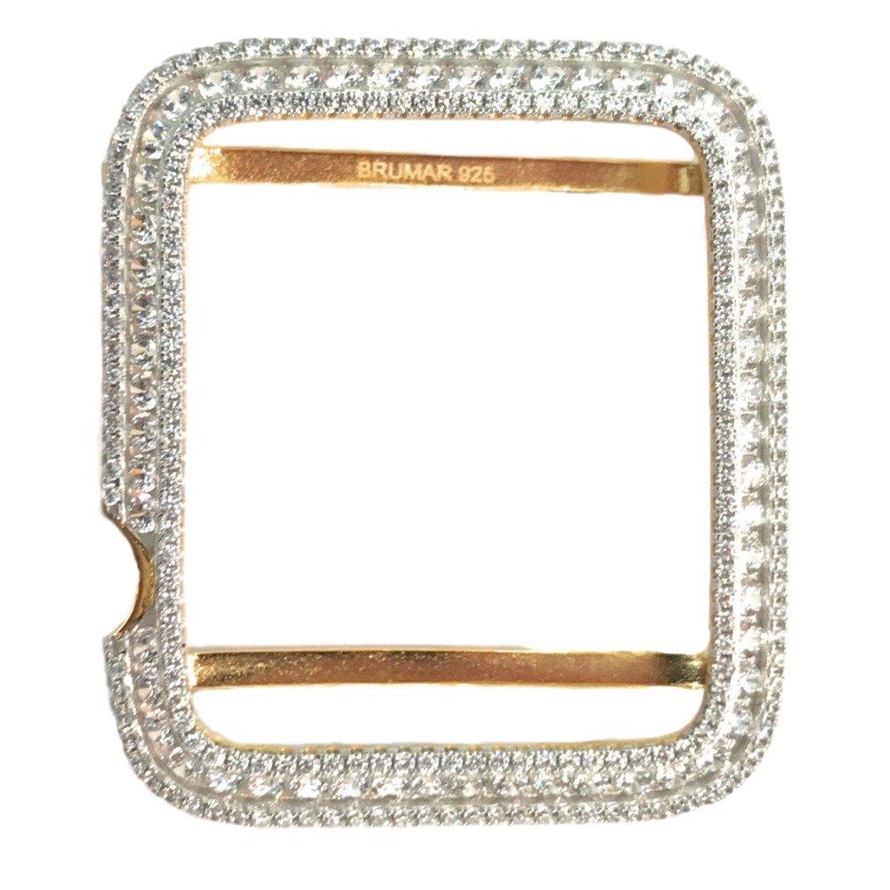 Series 2, 3 Apple Watch Bezel Case 14K Yellow Gold Plated Lab Diamonds 38mm