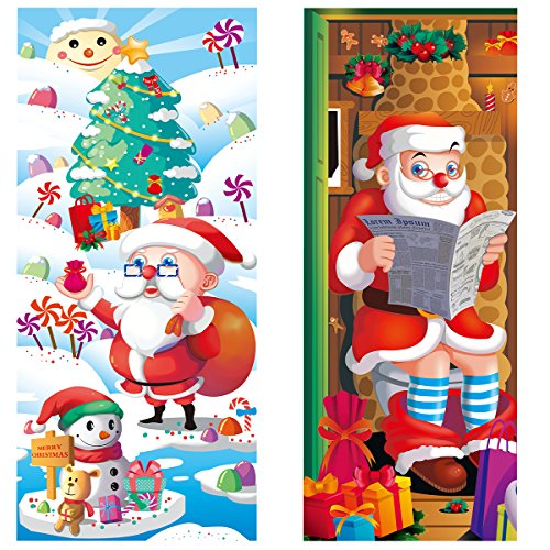 Unomor 2 Pack Christmas Door Covers Decoration Santa