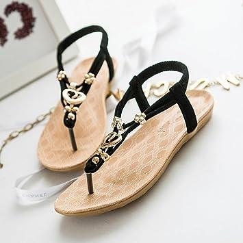 YTTY Flip Flop Weiblichen Sandalen Metallring Klee Clip Füße Flache Böhmische Sandalen und Hausschuhe, Polieren, 36