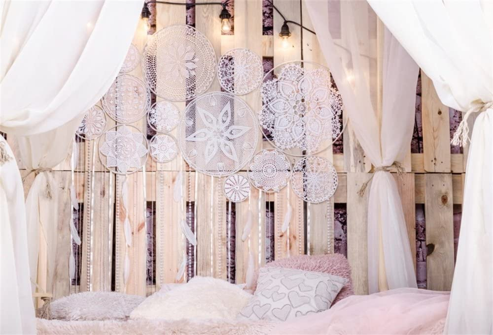 LFEEY 7x5ft Loft Bedroom Interior Canopy Backdrop for Wedding Photography White Room Decorations Curtain Drapes Dream Catcher with Feathers Pearls on Wooden Photographic Studio Photo Background