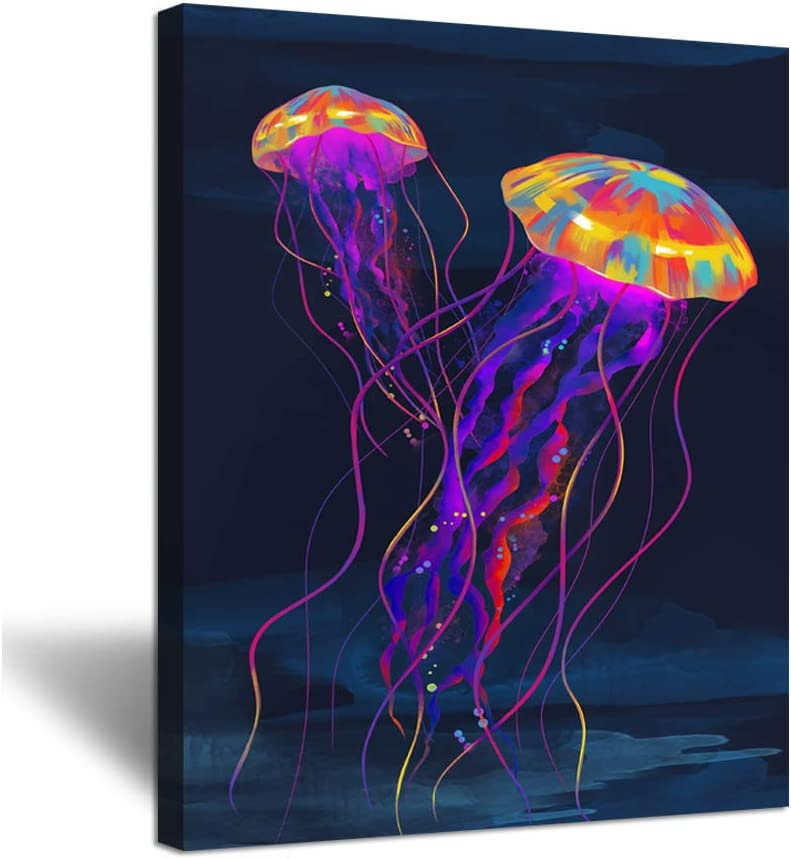 Amazon Com Zingarts Vintage Abstract Canvas Wall Art Colorful Jellyfish Under Deep Ocean Sea Life Animal Picture Painting On Canvas Gallery Wrap Modern Home Decor Ready To Hang 16x20inch Posters Prints
