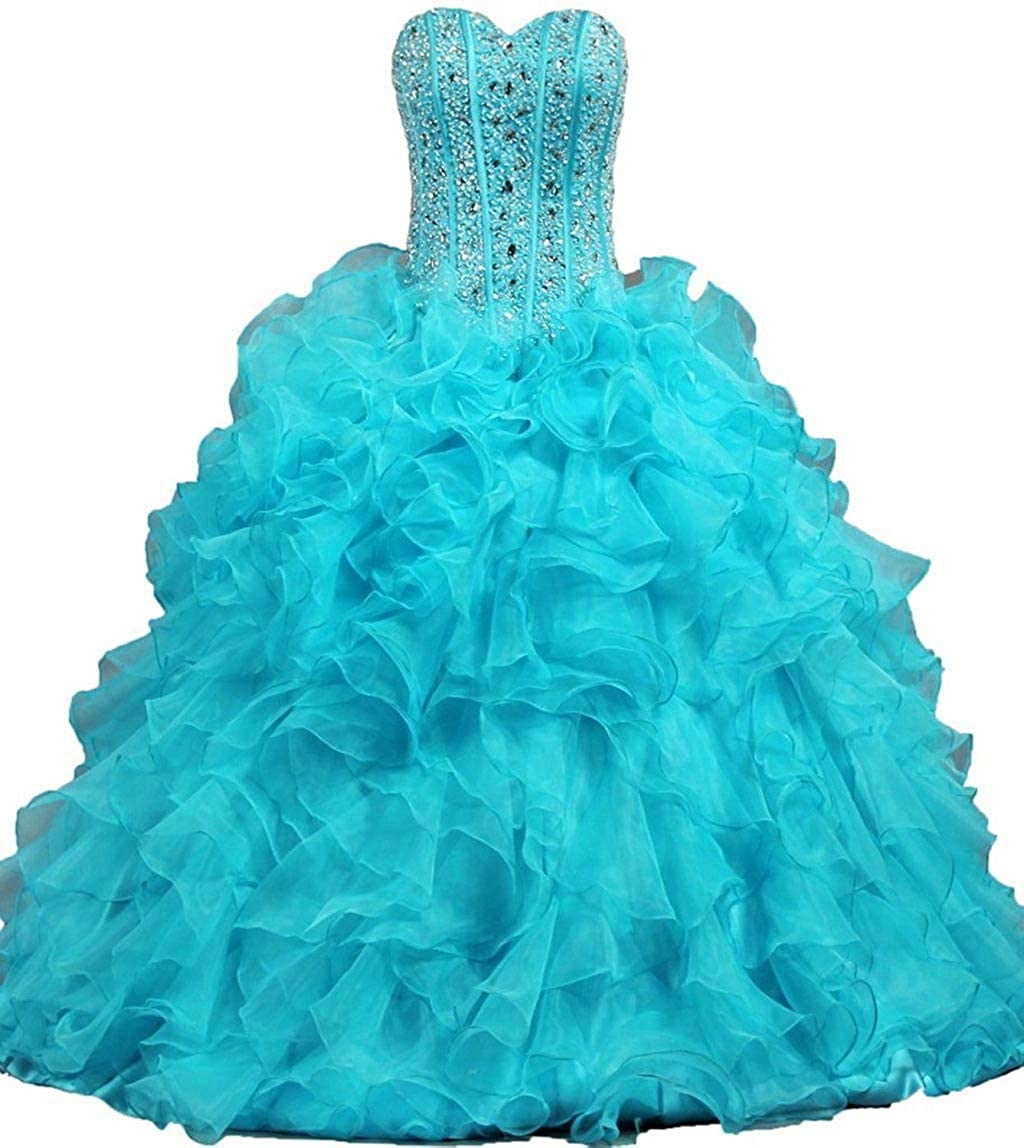 Turquoise Vantexi Women's Beaded Organza Ball Gown Prom Quinceanera Dress