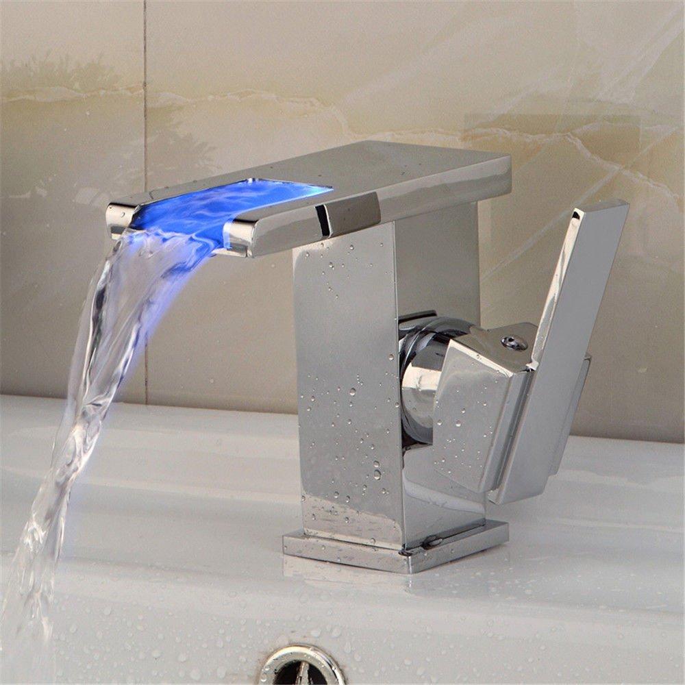 MEIBATH Waschtischarmatur Badezimmer Waschbecken Wasserhahn Küchenarmaturen LED Wasserfall Chrom Warmes und Kaltes Wasser Wasserfall Küchen Wasserhahn Badarmatur
