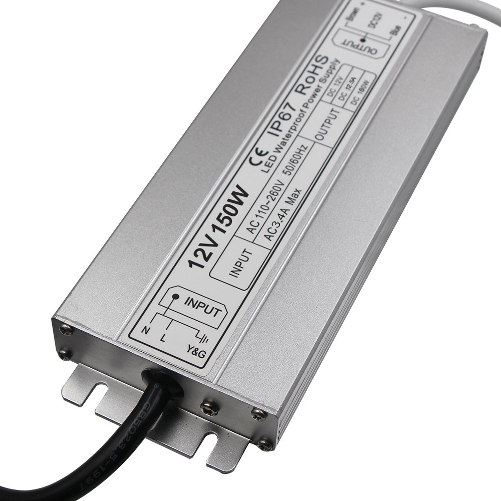 LED Driver Waterproof IP67 Power Supply 150W 12V DC 12.5a Transformer thinner and Durable with US 3-Prong Plug Plate for Outdoor Use by HFJY (Image #2)