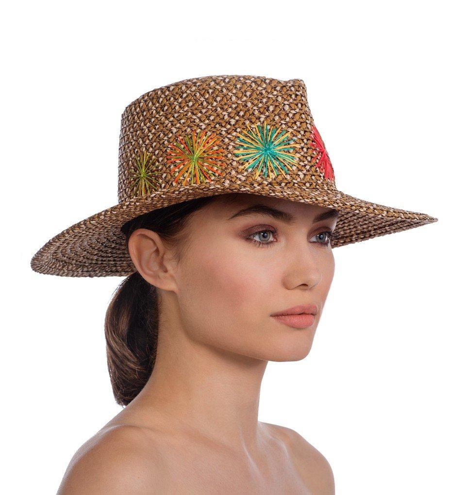 Eric Javits Luxury Fashion Designer Women's Headwear Hat - Zanzibar - Cafe Mix by Eric Javits