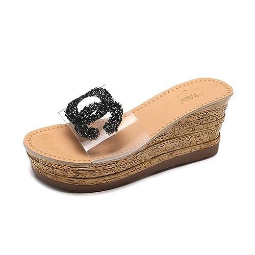 Zapatillas de Palabra de Diamantes de imitación Transparente de Las Mujeres del Verano Gruesas Sandalias de cuña Inferior del Muffin Zapatillas de Cristal ...